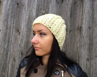 BLACK FRIDAY SALE! Ready to ship! knitted winter hat light yellow   winter  Hat, thick winter hat  Women Hat winter knitted hat woman hat