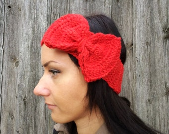 BLACK FRIDAY SALE! Ready to ship! red Headband, Crochet Headband Bun Earwarmer Head Wrap red Hat Girly Romantic, red winter headband