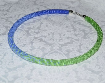 Crochet necklace Gradient seed bead rope Beaded crochet rope Beaded Crochet necklace Blue Green rope necklace handmade jewelry