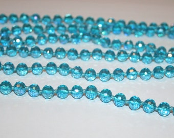 8 mm Faceted Crystal beads. Blue czech glass beads 8 mm.