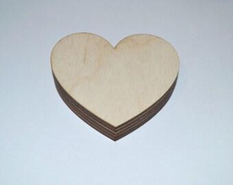 10 PCs Wooden hearts. Plywood heart. Decoupage shapes.