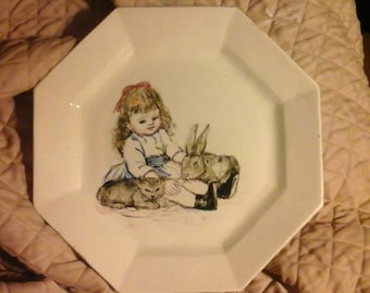 Vintage 70s Hand-Painted Little Girl or Doll Bunny Kitty Collectible Plate- Adorable-