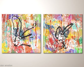 """Colorful fine art canvas painting: """"Color emotion"""" - abstract artwork 32x16 inches, mulitcolor acrylic painting already framed wall hanging"""