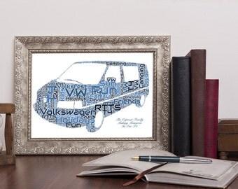 Personalised VW Volkswagen T4 Van Word Art Print with additional message Wordart UK