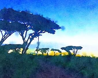 African Sunrise Watercolor Print