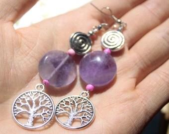 Tree of Life Natural Amethyst earrings-Spiral earrings-Cute girl earrings-Gift for her earrings-Boho tree earrings-Handmade-Amethyst Beads