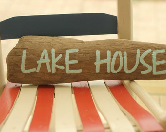 Driftwood Handpainted Sign, LAKE HOUSE Sign, Cottage, Cabin, Summer home, Farmhouse, Wall Decor, Aqua, Blue,