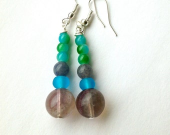 Green prehnite earrings with tigers eye kidney earrings for Jewelry made from kidney stones