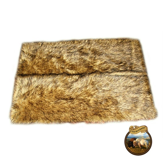 Premium Faux Fur Area Throw Rug Rectangle Light Wolf Pelt
