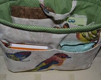 """bag organizer/pouch organizer/ Insert handbag organizer/purse organizer insert/ organizer birds and green 9.5""""Width x3.5""""depthx7"""" halt"""