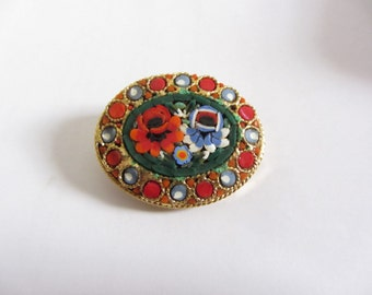 Micro mosaic flower brooch - Oval micro mosaic Millefiori floral brooch pin Italy - Mosaic brooch Italy