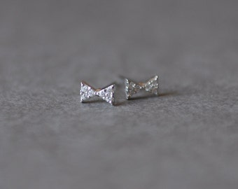 Silver CZ Tiny Bow Stud Earrings - Sterling silver