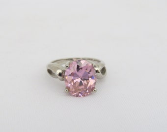Vintage Sterling Silver Oval Pink Cubic Zirconia Ring Size 7