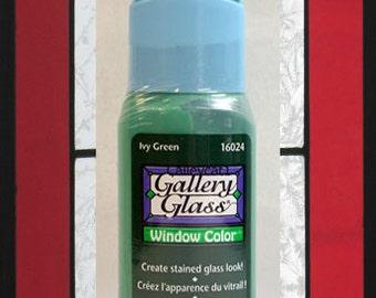 Plaid Gallery Glass Paint 16024 - 2 oz. Ivy Green ~ Create Stained Glass Look