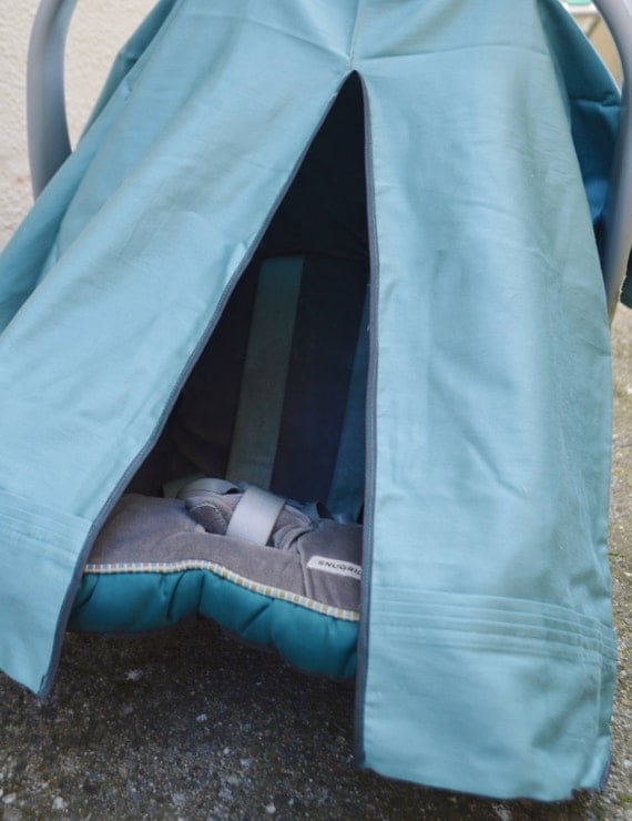 car seat cover canopy organic cotton teal with gray. Black Bedroom Furniture Sets. Home Design Ideas