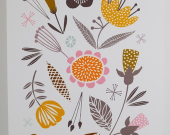 Woodland floral illustration A3 giclee print by MaggieMagoo Designs