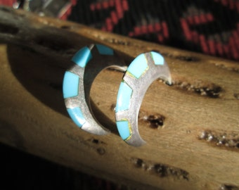 Turquoise and Sterling Hoop Earrings