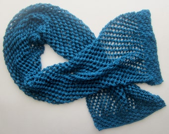 Blue Knitted Wrap - Blue Shawlette - Hand Knit Summer Shawl in a Soft Acrylic - Canadian Made - Spring Knit - Extra Large Scarf