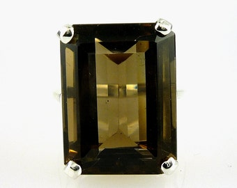 Smokey Quartz Very Large Natural 20X15MM Emerald Cut .925 Sterling Silver 22.92 C