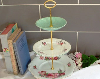 Beautiful Vintage Plates Cake Stand - 3 Tier - With Contrasting Green, White & Pink Plates and Gold Stem - F01