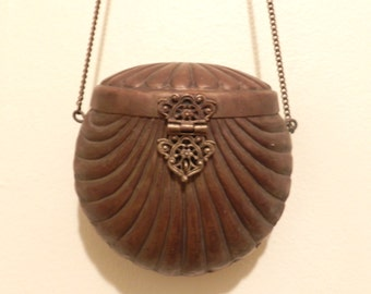 A Step In Time Purse. Vintage Brass purse, velvet lining.
