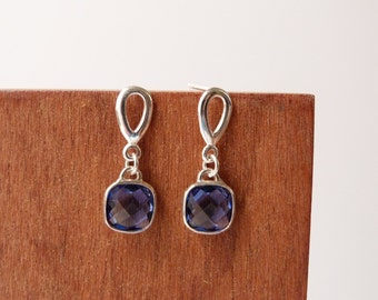 Something blue, crystal stud earrings in sterling silver, wedding jewelry