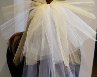White and Gold Bachelorette Veil - Bachelorette Clip