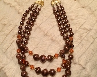 Vintage Estate Triple Strand Necklace With Gold-tone Hardware And Graduated Orange And Rose Beads - Adjustable. GORGEOUS!