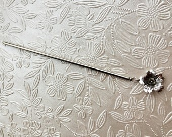 Simple Sakura Cherry blossom hair stick in silver