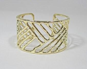 "Bronze ""Cuff"" Bracelet 1.5 Inch Wide - Crosshatch Pattern"