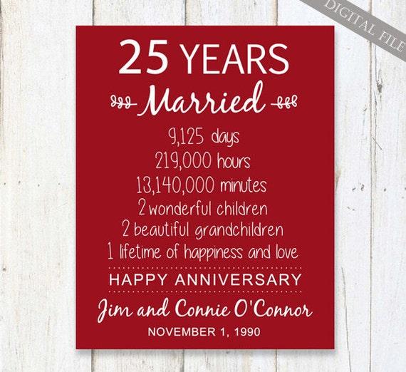 25th Anniversary Gift 25 Years Wedding Anniversary