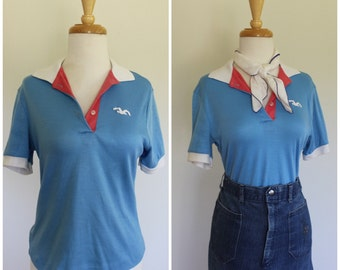 Vintage Late 70s Early 80s LADY WRANGLER seagull Polo Shirt