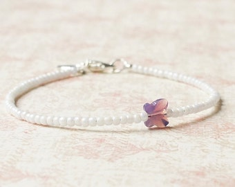 White And Purple Bracelet, Minimalist Bracelet, Dainty Bracelet, Seed Bead Bracelet, Swarovski Butterfly, Simple Bracelet, Beaded Bracelet