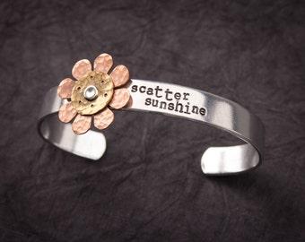 "Cuff Bracelet ""scatter sunshine"" with hand hammered copper layered flower, mom bracelet, grandma bracelet"