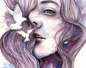 Dreams of freedom, ORIGINAL watercolor painting