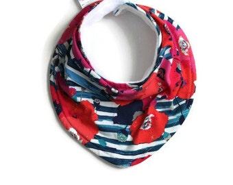Baby bandana bib, baby bib, bandana bib, scarf bib, baby shower gift, baby girl bib, drool bib, floral bib, blue stripes and floral bib