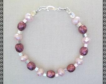 pink bracelet, metallic, light pink, dark pink, crystal bracelet, pink crystal, crystal, pink