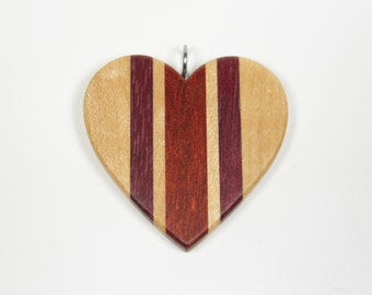 Wooden Heart Pendant, Mosaic Heart Pendant, Heart Necklace, Wood Heart Pendant, Red Heart, Love Pendant, Love Necklace, Valentine's Gift