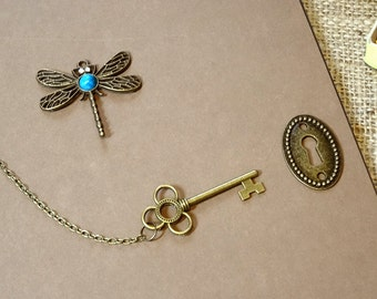 A4 Dragonfly Scrapbook, Photo Album, Journal, Thick Chocolate Brown Pages, Vintage/Antique/Victorian Style