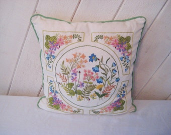 Embroidered pillow, floral pillow, decorative ornate, bedroom boudoir pillow, shabby cottage decor