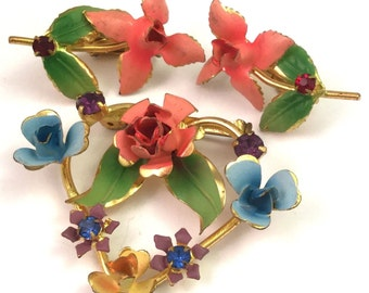 Estate Vintage Orange Blue Enamel Flower Brooch Earrings Demi Parure Jewelry Set Gold Tone Estate Jewelry
