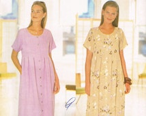 Easy UNCUT Size XS-M Misses' Short Sleeve Button Front Loose Fitting Long Dress Sewing Pattern - Butterick 5463