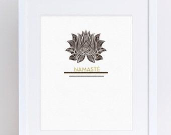 Namaste, Inspirational Printable, Gift for yogi, Lotus, Brown and Gold, Modern Design, Daily Inspiration, Meditation, Printable Art