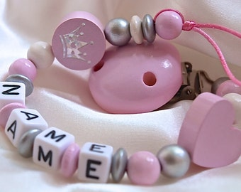 CHRISTENING / BAPTISM *** Personalised Wooden Dummy Clip / Chain / Holder / Pacifier