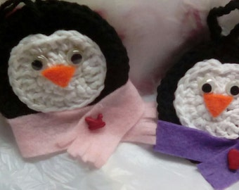 Penguin Ornaments with Pink and Purple Scarfs Set of Two