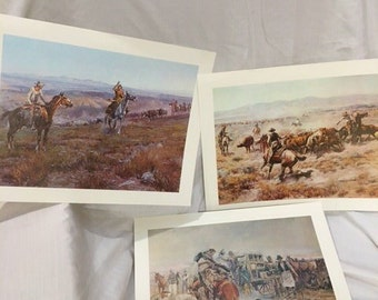 Three Charles Russell Western Cowboy Prints
