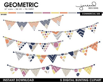 Bunting Banner || Digital Bunting Flags || Bunting Graphics || Geometric Bunting || Blue, Yellow, Orange, Pink || Commercial Use || BN16001