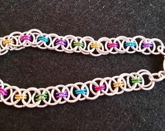 Rainbow Helm chainmaille bracelet