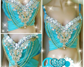 Turquoise and Gold and Glam Design Custom Bra Costume Lingerie Rave Bra