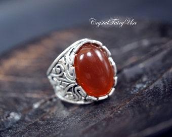 Red Carnelian Ring - Tibitan Silver Ring -  Adjustable Carnelian Stone Ring